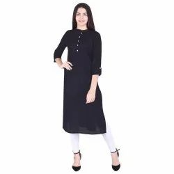 Cotton Solid Straight Kurti