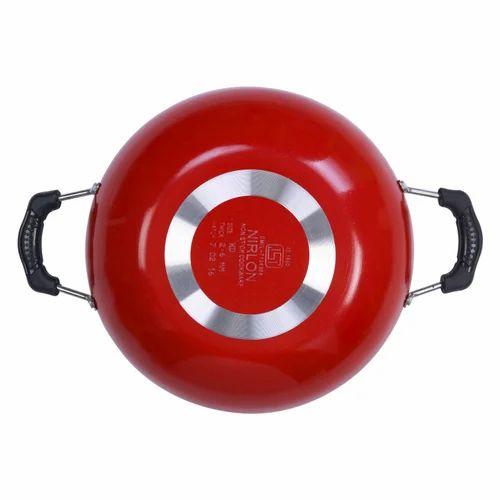 Aluminium Red And Black 3 Pcs Nonstick Cookware Set For