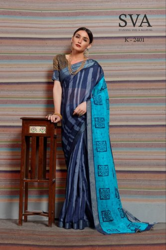 Floral Print Latest Linen Saree