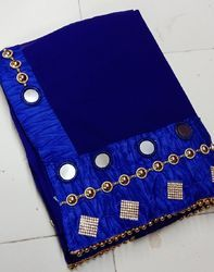 Georgette Mirror And Hand Work Bordered Pattern Blue Saree
