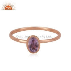 Natural Amethyst Gemstone Rose Gold Plated Silver Designer Ring Jewelry