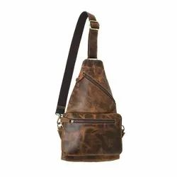Unisex Plain Genuine Leather Cross Body Chest Bag For Mens and Womens, Size: Small