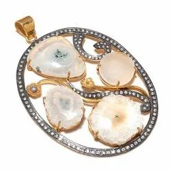 Solar Quartz CZ Set Oval Shape Pendant