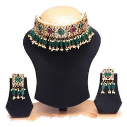 Partywear Red Green Color Drop Choker Necklace Earrings Set