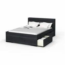 Black Designer Storage Double Bed