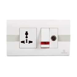 Standard 4M Cover Plate Stripes White Switches