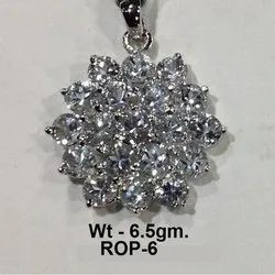 925 Sterling Silver Rodium American Diamond Pendant