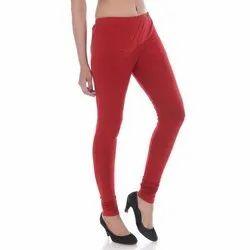 Churidar Red Ladies Plain Cotton Leggings, Size: XL-XXL