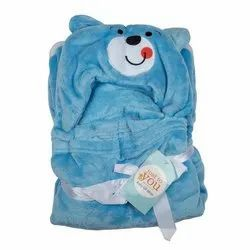 Baby Blue Bear Hooded Blanket