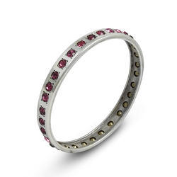 Trendy Design 925 Sterling Silver Bangle With Gemstones