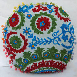 Floral Round Embroidered Cushion