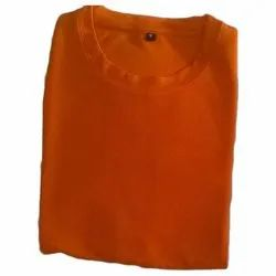 Men Casual Wear Honey Comb Orange T Shirt, Size: Medium And XL