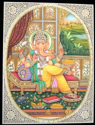 Miniature Ganesh Painting On Jaali Tile