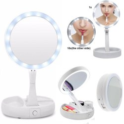 Round Foldable Glass LED Lighted Make Up Mirror