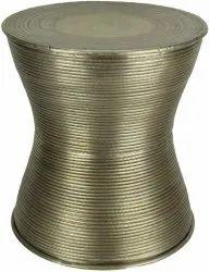 Aleeza Bronze Aluminium Drum Table / Stool, for Home, Size: Hx18.5, Dx17 Inch