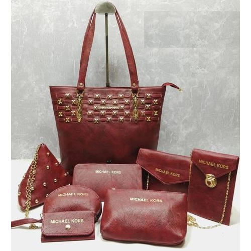 98cf52d32eff Michael Kors Maroon Leather Ladies Combo Bags, Rs 950 /set | ID ...