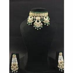 Gold Natural Uncut Diamond Polki Stone Necklace Set