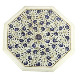White Marble Inlay Dining Table Top, Round Table Top