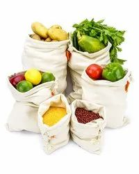 Natural Soft Cotton Produce Bags for Vegetable and Fruit Storage In Fridge