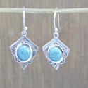 925 STERLING SILVER JEWELRY NICE TURQUOISE GEMSTONE NEW EARRING WE-5511