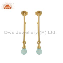 Aqua Chalcedony Gemstone Gold Plated Silver Earrings