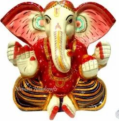 Metal Meenakari Kan Ganesha Statue Enamel Work Indian God Idol Figurine