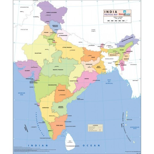Synthetic States And Capital India Map, Size: 37.5x32 Inches, Rs 200 ...