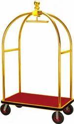 Mild Steel Rubber Bellman Luggage / Hotel Trolley