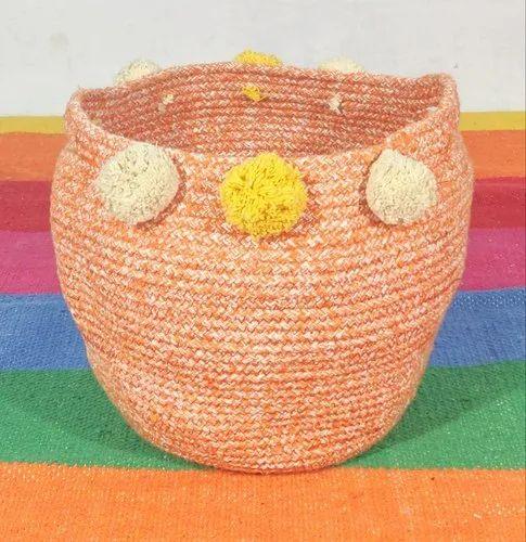 Round Handmade Cotton Basket