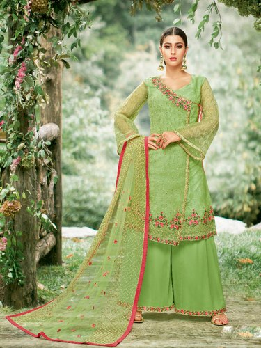 Exclusive Wedding Wear Green Heavy Embroidery With Georgette Palazzo Suit