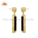 Handmade Gold Plated Silver Design Black Onyx Earrings