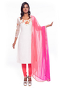 White And Pink Hand Embroidered Ethnic Suit