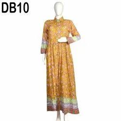 10 Cotton Hand Printed Women's Long Dress India DB10