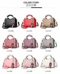 Mix Colour Pu synthetic leather Handbag, For Casual Wear, Size: 10x9x5