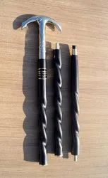 Designer Brass Decorative Ship Anchor Handle Black Wooden Walking Stick Twisted Cane In 3 Folds