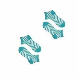Blue, White Cotton Ladies Striped Socks, Size: Free