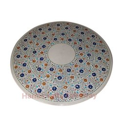 White Marble Inlay Dinning Table Top