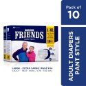 Friends Premium Adult Diaper Pants Large Waist 30-56 inch 10s PACK