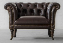 Vintage One Seater Sofa in Genuine Leather, Leather Couches