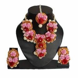 Female Paper Flower Mogra Wedding Necklace Set