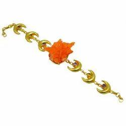 Gold Plated Rough Druzy Gemstone Adjustable Bracelet