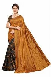 Checks Print Cotton Silk Saree
