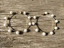 The Jewel Basket White Pearl Gold Plated Round Hoops