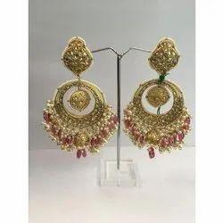 Ladies Stylish Gold natural Uncut Diamond Polki Jadau Chandbali Earring