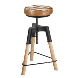 Industrial Crank Leather Wooden Bar Stool