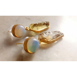 Rough Gemstone Gold Plated Brass Earring