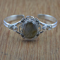 925 Sterling Silver Labradorite Gemstone Bangle