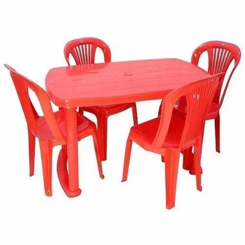 Cello Sleek Red Plastic Dining Table Set स ल ड इन ग ट बल Vijay Deals New Delhi Id 21268626873