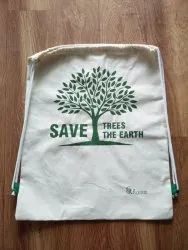 White Cotton carry bag, Number Of Straps: 2, Bag Size: 14*17
