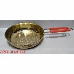 Golden Brass Frying Pan, Round, Capacity: 2 Liter